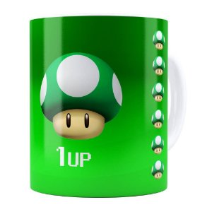 Caneca Mario Bros Toad  Verde 1UP Branca