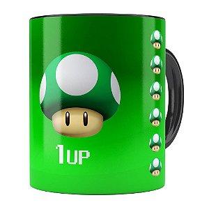 Caneca Mario Bros Toad Verde 1UP Preta