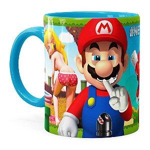 Caneca Super Mario Bros #NeverFriendZone Sexy v02 Azul Claro