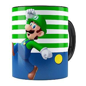 Caneca Super Mario Bros Luigi Pulando Preta