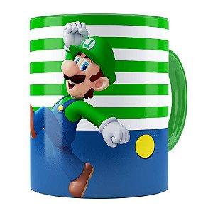 Caneca Super Mario Bros Luigi Pulando Verde