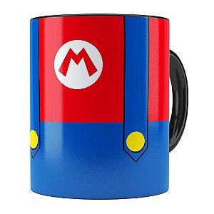 Caneca Super Mario Bros Mario Uniforme Preta