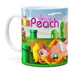 Caneca Super Mario Sexy Peach Branca