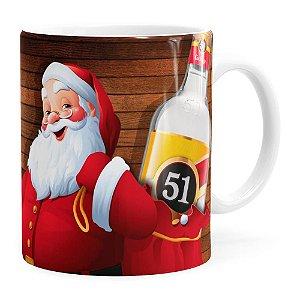 Caneca Natal Cachaça 51 Com Refrigerante Aqui Não Branca