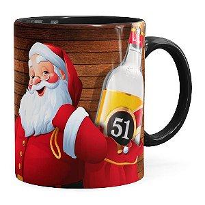 Caneca Natal Cachaça 51 Com Refrigerante Aqui Não Preta