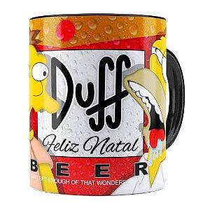 Caneca Simpsons Barney e Homer Duff Beer Feliz Natal Preta