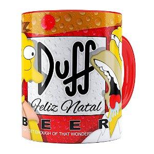Caneca Simpsons Barney e Homer Duff Beer Feliz Natal Vermelha