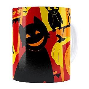 Caneca Halloween Dia das Bruxas v04 Branca