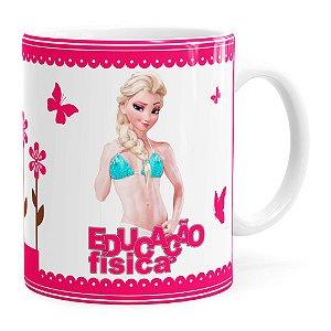 Caneca Profissões Educação Física Frozen Elsa Branca