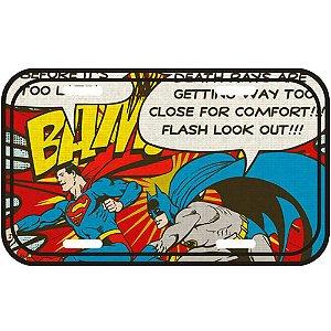 Placa Decorativa Batman e Superman Bam 30x15cm