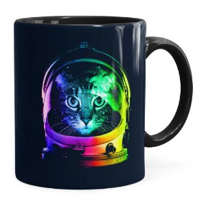 Caneca Gato Astronauta Preta
