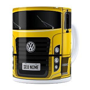 Caneca Personalizada Truck Amarelo v02 com Nome Branca