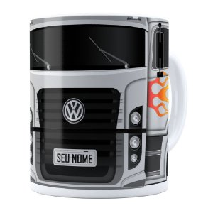 Caneca Personalizada Truck Cinza v01 com Nome Branca