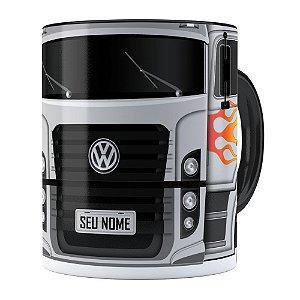 Caneca Personalizada Truck Cinza v01 com Nome Preta