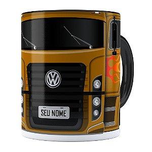 Caneca Personalizada Truck Mostarda v01 com Nome Preta