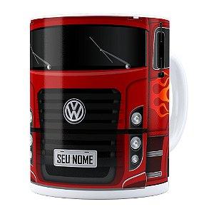 Caneca Personalizada Truck Vermelho v01 com Nome Branca