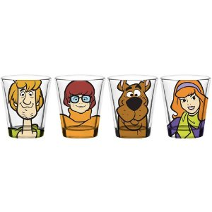 4 Copos Dose Scooby Salsicha And Girls Vidro 50ml