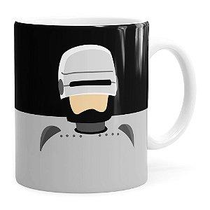 Caneca do Robocop Minimalista Branca