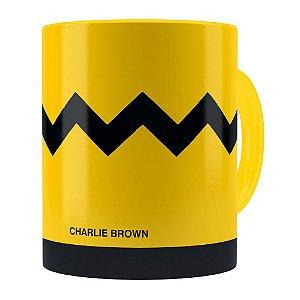 Caneca Peanuts Charlie Brown Minimalista Amarela
