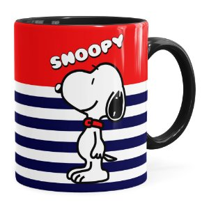 Caneca Peanuts Snoopy v01 Preta