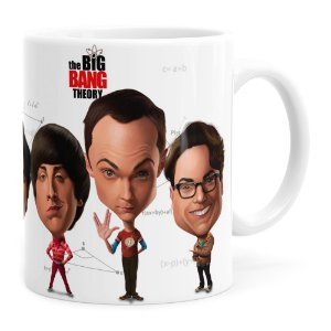 Caneca The Big Bang Theory Caricaturas Branca
