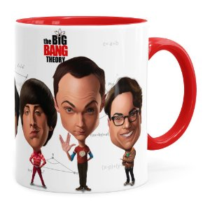 Caneca The Big Bang Theory Caricaturas Vermelha