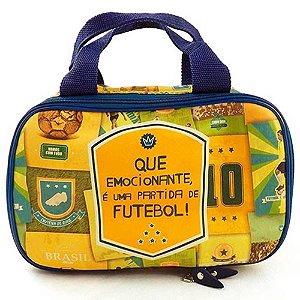 Necessaire Bolsinha Estampada Brasil do Futebol Amarelo Couro