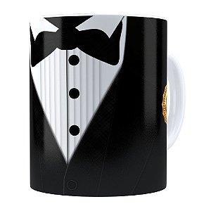 Caneca Black Tie Melhor Pai do Ano Branca