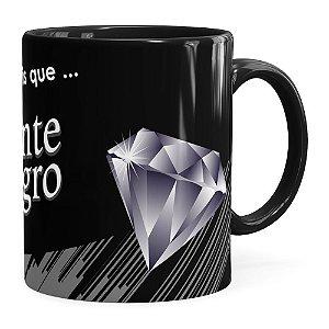 Caneca Chocolate Diamante Negro Mensagem Preta