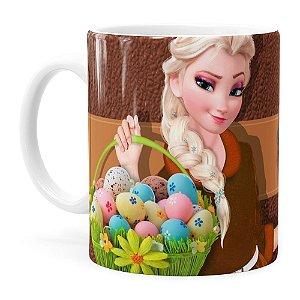 Caneca Chocolate Feliz Páscoa Frozen Elsa v01 Branca