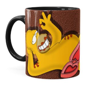 Caneca Chocolate Os Simpsons Homer Choco Lover Preta