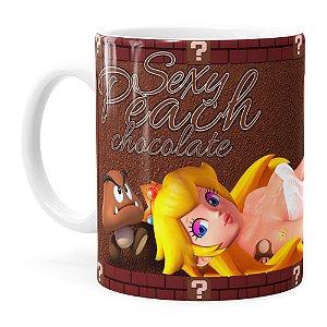 Caneca Chocolate Super Mário Bros Sexy Peach Branca