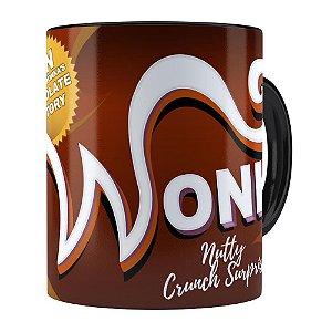 Caneca Chocolate Wonka Fábrica de Chocolate Preta