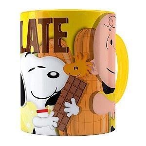 Caneca Peanuts Chocolate com Amendoim Snoopy Amarela