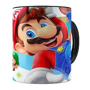 Caneca Super Mario Team 3D Print Preta