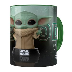 Caneca Baby Yoda 3D Print Star Wars v02 Verde Escuro