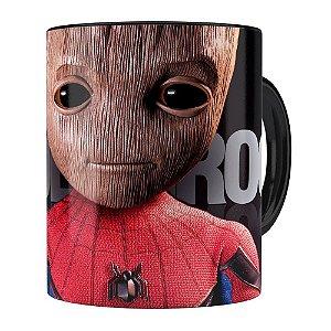 Caneca Spider Groot 3D Print Preta