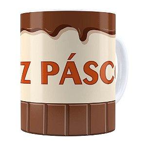 Caneca Feliz Páscoa Chocolate Branca