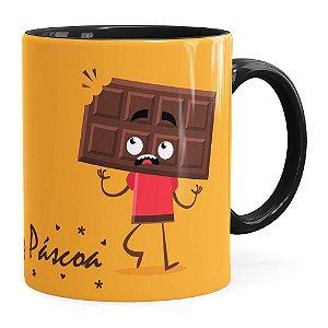 Caneca Páscoa Cara de Chocolate v01 Preta