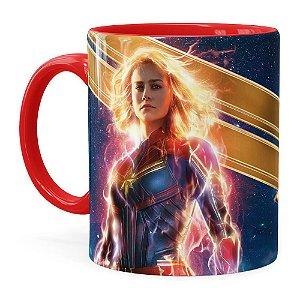 Caneca Capitã Marvel Filme v05 Vermelha