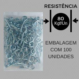 Kit Gancho Espiral Zincado c/ Bucha de Nylon 100un.