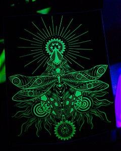 Adesivo Libélula Verde/Preto Neon