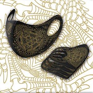 Mascara Tribal Art Tsu Dourado G