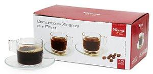 CONJUNTO DE XÍCARAS COM PIRES 90ml de VIDRO TRANSPARENTE CAFÉ 12 PEÇAS