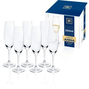 Jogo 6 Taças Champagne Cristal Bohemia 220ml Titanium