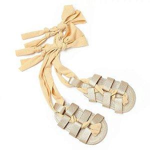 a1d39ba17 Sandália Walking Amarração Dourada