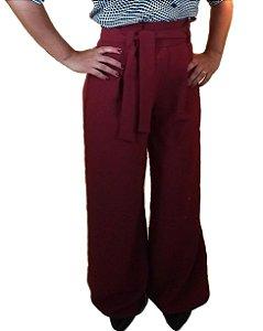 Calça clochard pantalona marsala