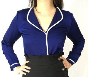 Camisa pijama seda azul