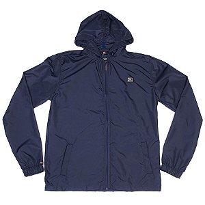 Jaqueta Quebra Vento Azul Marinho Básica Com Bolsos Embutidos
