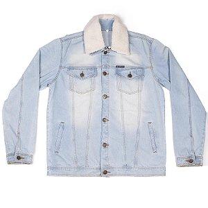 Jaqueta Jeans Com Gola De Pele Removível Com Botões Diferenciados E Bolsos Frontais